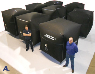 "ATL employees complete (8) 1,200 gallon methanol ""cube"" bladders for a long-time customer."